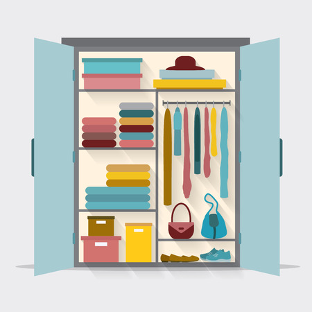 closet: Wardrobe for cloths. Closet with clothes and bags and others. Flat style vector illustration.
