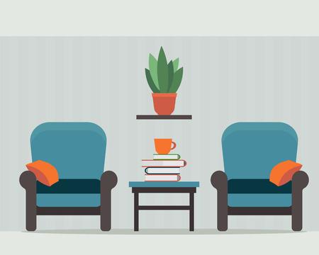 家の内部の小さなテーブルと椅子。フラット スタイルのベクトル図です。