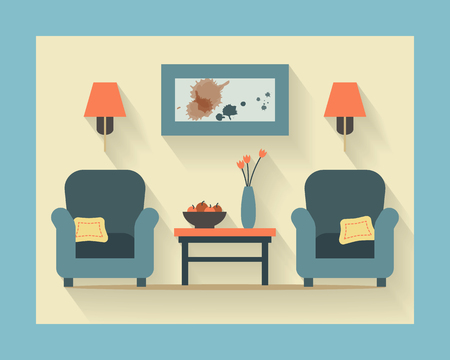 small table: Chairs with small table, home interior. Flat style vector illustration.