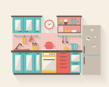 modern kitchen design: Kitchen with furniture and long shadows. Flat style vector illustration.