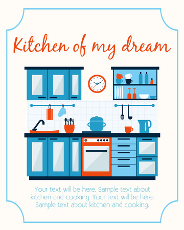 kitchen furniture: Kitchen with furniture and long shadows. Flat style vector illustration.
