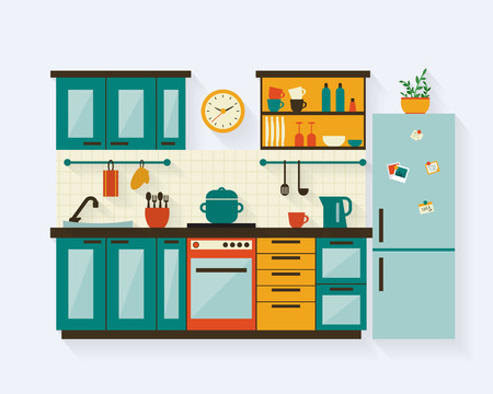 refrigerador: Cocina con muebles y largas sombras. Ilustración vectorial de estilo Flat.