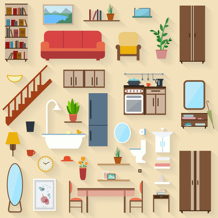 Furniture set for rooms of house. Flat style vector illustration. Vettoriali