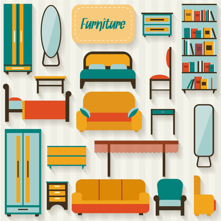 Furniture set for rooms of house. Flat style vector illustration. Иллюстрация