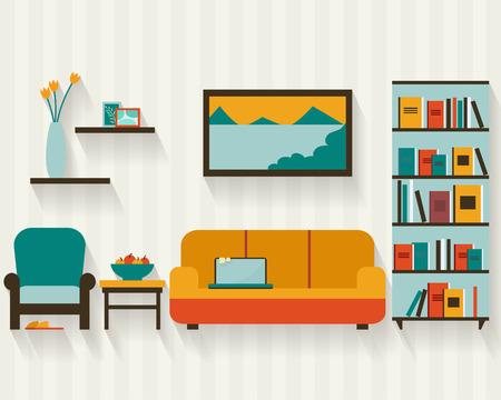 case moderne: Soggiorno con mobili e lunghe ombre. Appartamento stile illustrazione vettoriale. Vettoriali