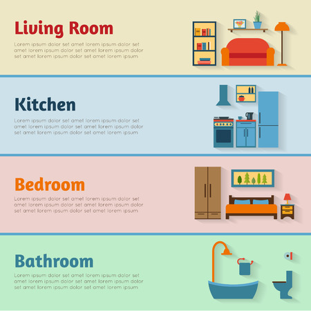 furniture design: Banners with furniture icons for rooms of house. Flat style vector illustration.