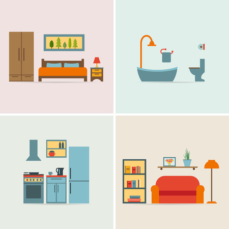 Banners with furniture icons for rooms of house. Flat style vector illustration.