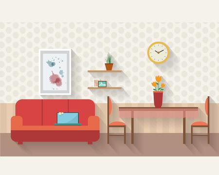 Woonkamer en eetkamer met meubels en lange schaduwen. Vlakke stijl vector illustratie.