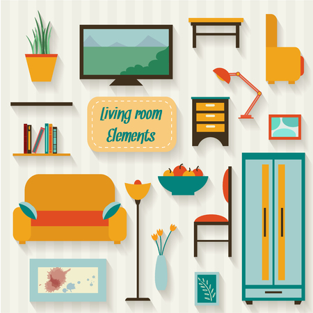 bedroom design: Living room with furniture and long shadows. Flat style vector illustration.