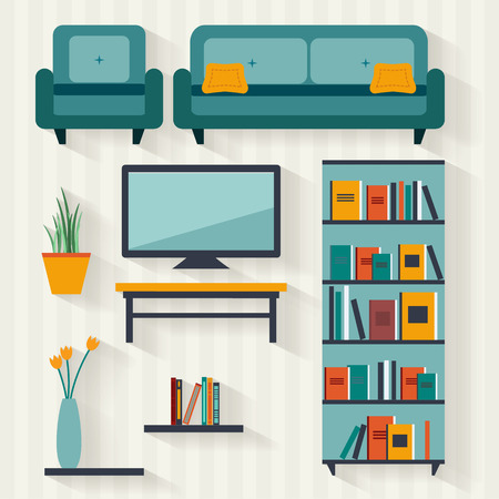 sofa: Living room with furniture and long shadows. Flat style vector illustration.