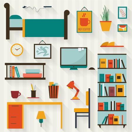 Einzel jungen Mann oder Teenager Innenraum mit Möbeln. Wohnung Stil Vektor-Illustration.