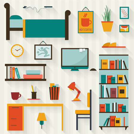 single: Single young man or teenager room interior with furniture. Flat style vector illustration. Illustration