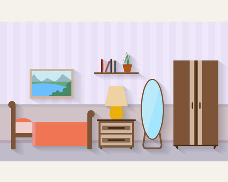 window curtain: Bedroom with furniture and long shadows. Flat style vector illustration.