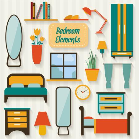 寝室の家具と長い影。フラット スタイルのベクトル図です。  イラスト・ベクター素材