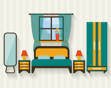 bedroom design: Bedroom with furniture and long shadows. Flat style vector illustration.