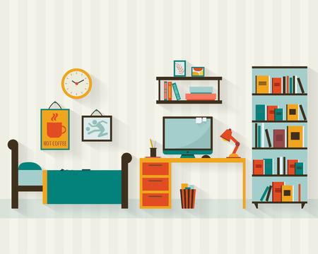 chambre à coucher: Simple jeune homme ou un adolescent intérieur de la chambre avec des meubles. Plat illustration vectorielle de style. Illustration