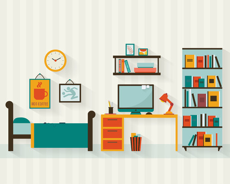 planos: Solo hombre o joven adolescente habitación interior con muebles. Ilustración vectorial de estilo Flat.