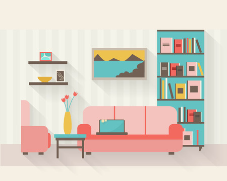 living: Living room with furniture and long shadows. Flat style vector illustration.