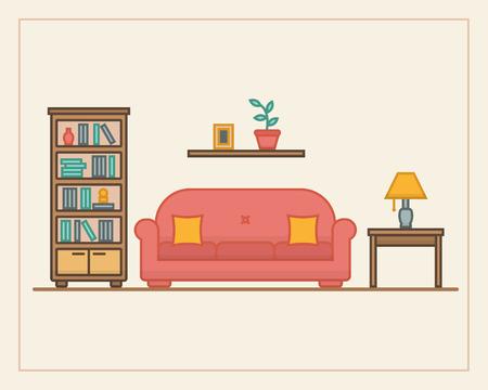 リビング ルームの家具と長い影。フラット ライン スタイルのベクトル イラスト。  イラスト・ベクター素材