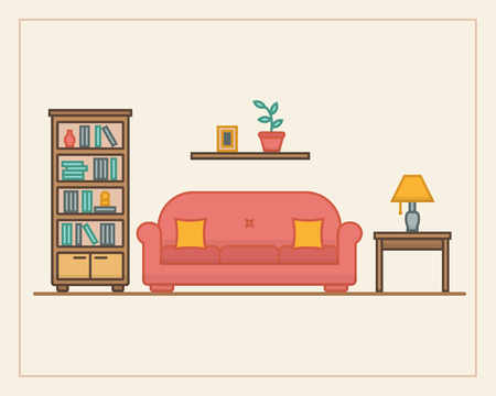 Living room with furniture and long shadows. Flat line style vector illustration. Vector