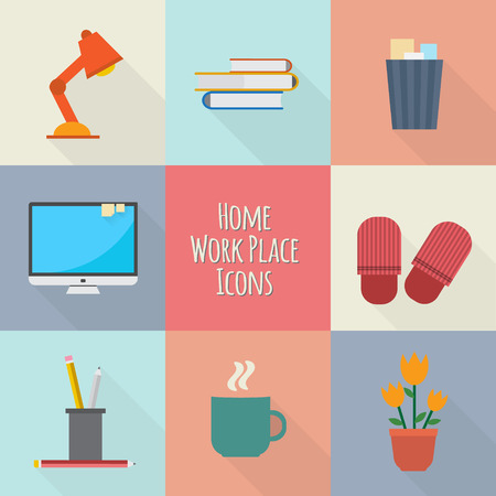 Home workplace icons set. Workspace for freelancer and home work. Flat vector design.
