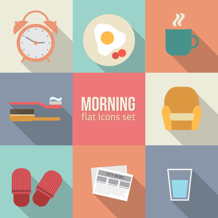 Morning time icons set. Flat vector design. Illustration