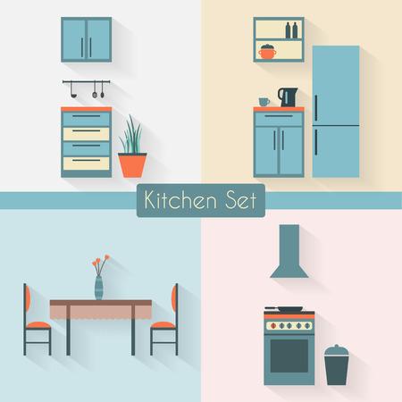 キッチンの家具と長い影。フラット スタイルのベクトル図です。