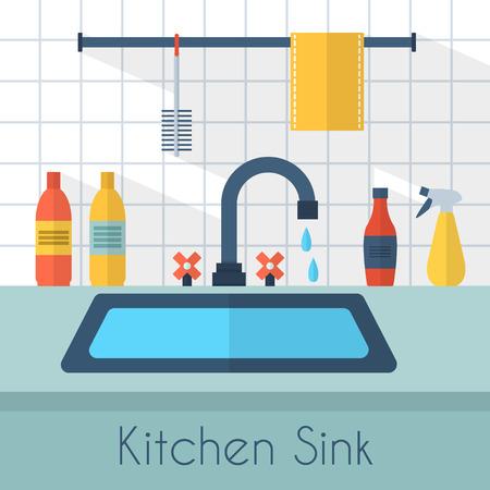 lavar trastes: Fregadero de la cocina con utensilios de cocina, utensilios, platos, detergente y una esponja. Ilustración vectorial de estilo Flat.
