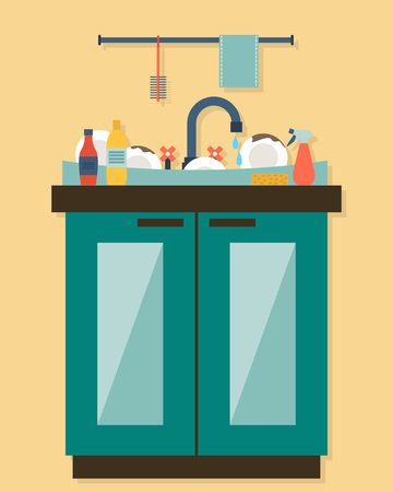 lavar trastes: Fregadero de la cocina con utensilios de cocina, utensilios, platos, detergente y una esponja. Ilustraci�n vectorial de estilo Flat.