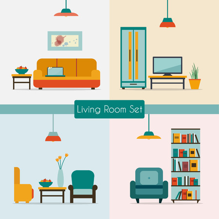dining room table: Living room with furniture and long shadows. Flat style vector illustration.