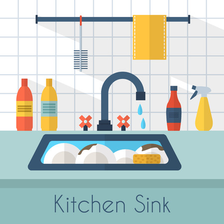 domestic bathroom: Kitchen sink with kitchenware, utensil,  dishes, dish detergent and a sponge. Flat style vector illustration.