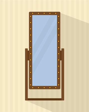 backstage: Big full-length mirror for bedroom, shops, backstage. Flat style vector illustration.
