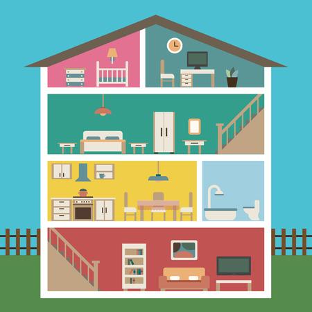 casa de campo: Casa en corte. Interior de la casa moderna detallada. Habitaciones con muebles. Ilustración vectorial de estilo Flat.