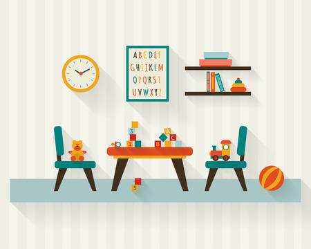 nursery: Niños sala de juegos en la guardería. Habitación del bebé interior. Ilustración vectorial de estilo Flat.