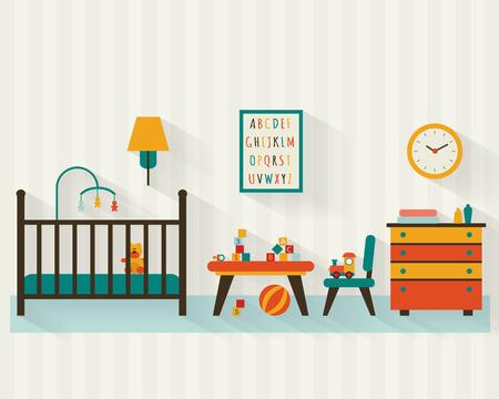 nursery: Habitación del bebé con muebles. Vivero interior. Ilustración vectorial de estilo Flat.