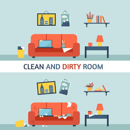 Dirty and clean room. Disorder in the interior. Room before and after cleaning. Flat style vector illustration.