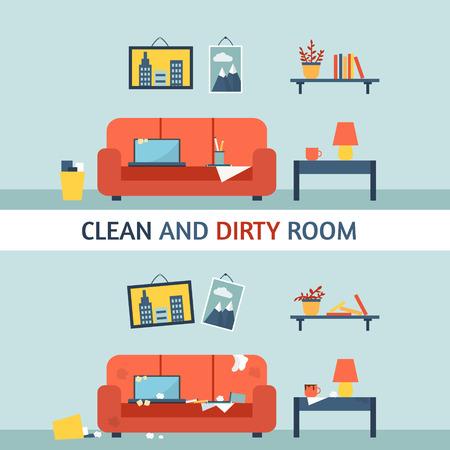 Schmutzigen und sauberen Zimmer. Störung in den Innenraum. Raum vor und nach der Reinigung. Wohnung Stil Vektor-Illustration.