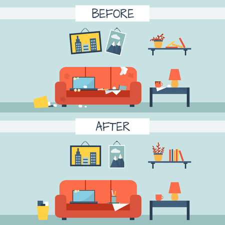 sofa: Dirty and clean room. Disorder in the interior. Room before and after cleaning. Flat style vector illustration.