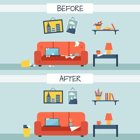 habitacion desordenada: Sucio y limpia habitación. Trastorno en el interior. Ambiente antes y después de la limpieza. Ilustración vectorial de estilo Flat. Vectores