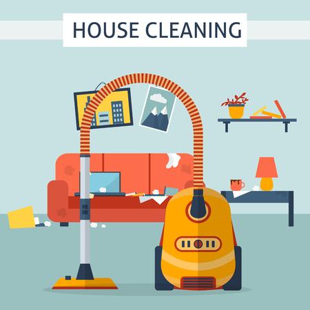 oficina desordenada: Sucio y limpia habitación. Trastorno en el interior. Ambiente antes y después de la limpieza. Ilustración vectorial de estilo Flat. Vectores
