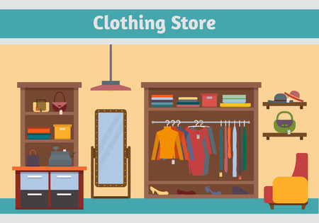 negozio: Negozio di vestiti. L'uomo e la donna negozio di abbigliamento e boutique. Shopping, moda, borse, accessori. Appartamento stile illustrazione vettoriale. Vettoriali