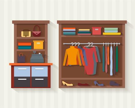 衣料品店。男と女の洋服店、ブティック。ショッピング、ファッション、バッグ、アクセサリー。フラット スタイルのベクトル図です。