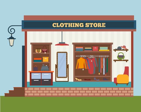 boutique display: Clothing store. Man and woman clothes shop and boutique. Shopping, fashion, bags, accessories. Flat style vector illustration. Illustration