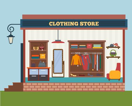 Sklep odzieżowy. Mężczyzna i kobieta ubrania sklep i butik. Zakupy, moda, torebki, akcesoria. Mieszkanie w stylu ilustracji wektorowych. Ilustracje wektorowe