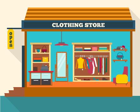 Kledingwinkel. Man en vrouw kleding winkel en een boetiek. Winkelen, mode, tassen, accessoires. Vlakke stijl vector illustratie. Stock Illustratie