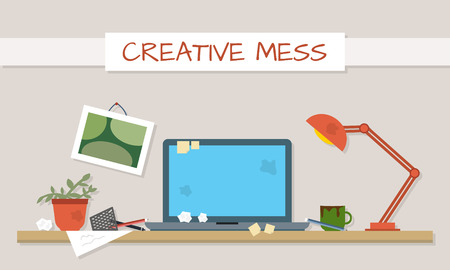 disorganized: Dirty and clean work table. Creative mess. Disorder in the interior. Table before and after cleaning. Flat style vector illustration. Illustration