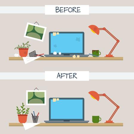 oficina desordenada: Mesa de trabajo sucio y limpio. Desorden creativo. Trastorno en el interior. Tabla antes y después de la limpieza. Ilustración vectorial de estilo Flat. Vectores
