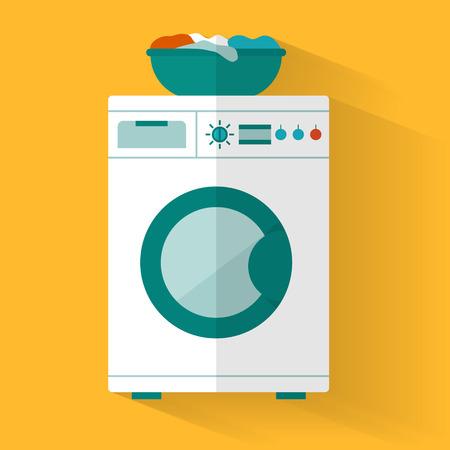 lavadora con ropa: Icono Lavadora. Ilustración vectorial de estilo Flat. Vectores