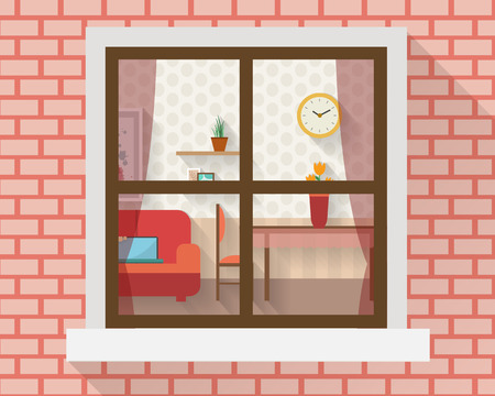 Living room with furniture through the window. Flat style vector illustration.