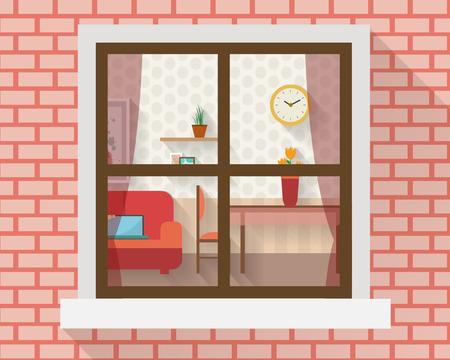 Salon avec des meubles par la fenêtre. Plat illustration vectorielle de style.